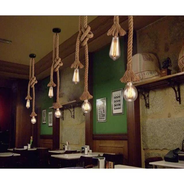 3M Suspension Vintage en Corde Chanvre 200cm Diy Double douille E27 Luminaire Rétro Lampe pour Restaurant Bar Cafe Lighting