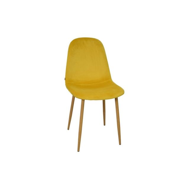 c9e4130f7793a2 Zons - Chaise salle a manger scandinave Velours Scandinave 45 55 85CM Jaune