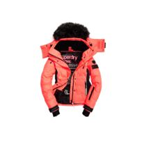 Superdry - Veste De Ski Snow Puffer Coral / Black