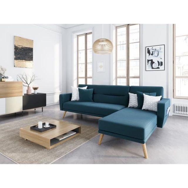 Marque Generique Canape - Sofa - Divan Brava Canapé d'angle convertible réversible 4 places - Tissu bleu canard - L 235 x P 157 x H 82 cm