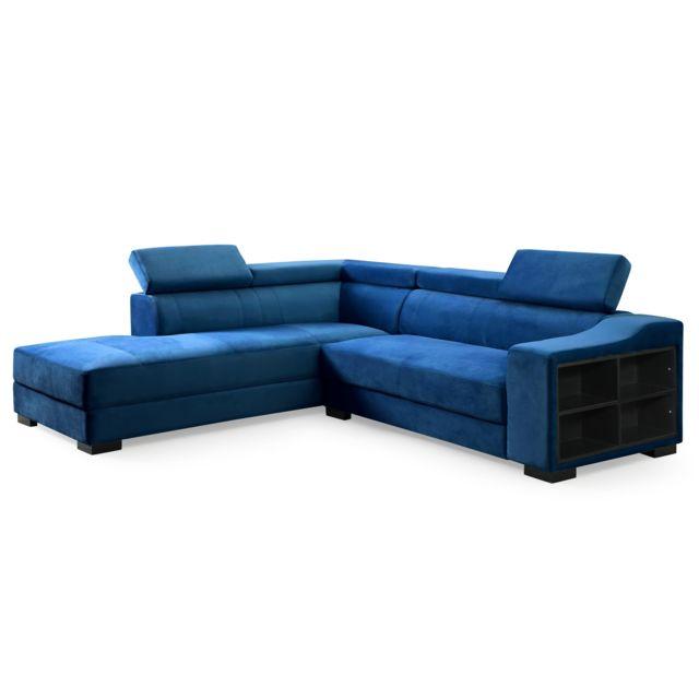 MENZZO Canapé d'angle en velours Onoz Bleu
