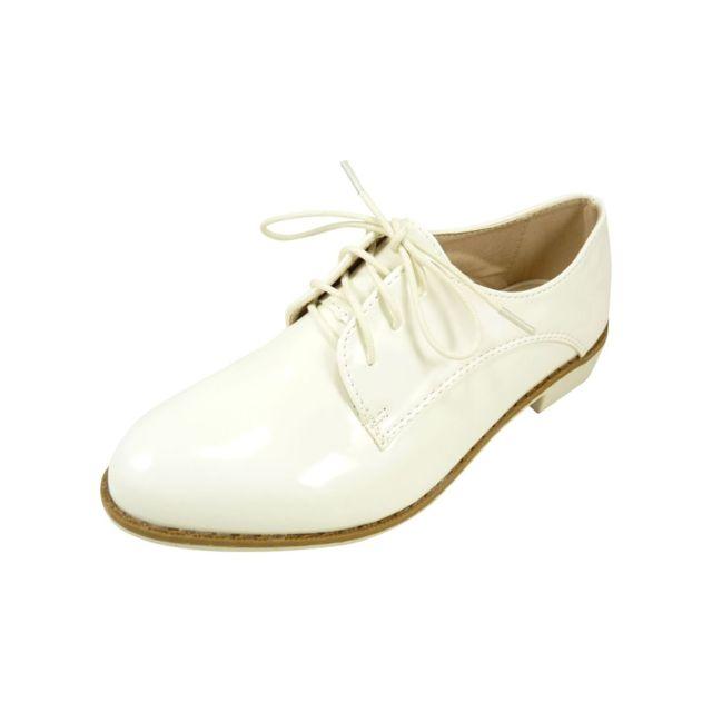 Chaussmaro - Chaussures à lacets femme, Derbies vernis à bout rond Blanc d5320f4fd5da