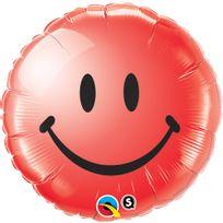 Qualatex - Ballon métallique smiley rouge