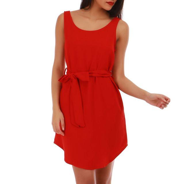 Lamodeuse - Robe rouge avec ceinture à nouer - pas cher Achat ... 3a3b10d0d59