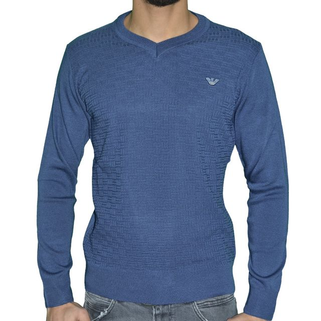 Coton V 04 Sweater Col Armani Jeans Pull Homme Fin c7CApnqz