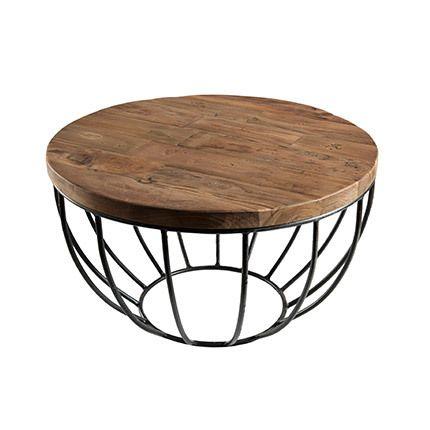 Table basse coque noire 60x60 cm Appoline - teck foncé