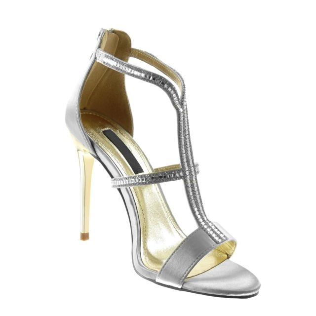 Escarpin Sandale stiletto strass diamant multi bride