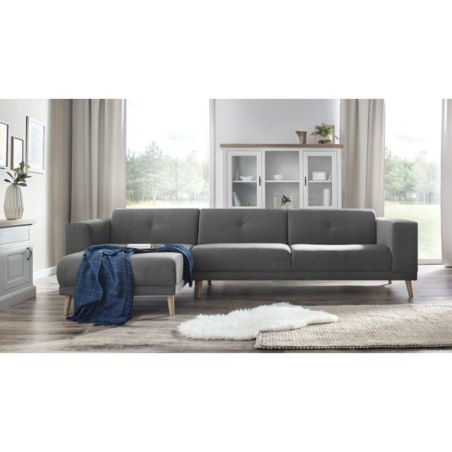 BOBOCHIC - LUNA - Canape d'angle gauche + Pouf - Gris clair - 6 places - 95cm x 75cm x 308cm
