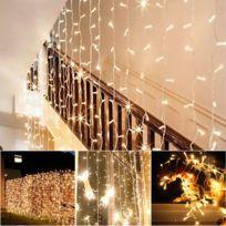Agm France - Guirlande Lumineuse, Rideau 300 Led 3mx3m, 8 modes d'éclairage, Interieur et exterieur