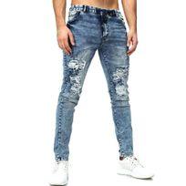 Justing - Jean fashion homme semi slim Jean mode 1093 bleu