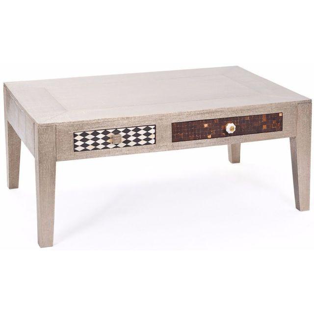 Comforium Table basse 110 cm avec 2 tiroirs vintage coloris gris métallisé