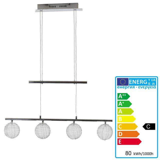 Mendler Lampe suspension, Hw115, boules fil métallique, chrome ~ 4 flammes
