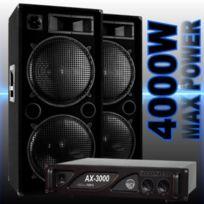 Ibiza Sound - Pack sono dj avec 2 enceintes 2000w - 1 ampli 3000w - câblage