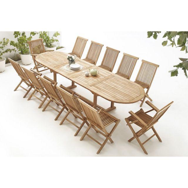 Bobochic Table Ovale 10 chaises + 2 fauteuils Teck Brut Massif