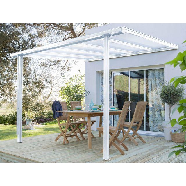 Ideanature Tonelle adossée en aluminium et polycarbonate 3x3,11m Tradition - Blanc