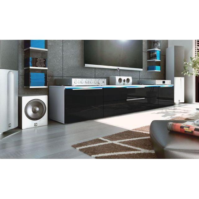 Mpc Meuble bas tv blanc / noir 200 cm