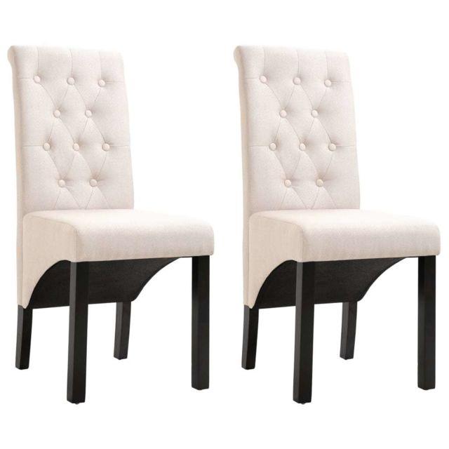 Contemporain Fauteuils et chaises serie Tokyo Chaises de salle à manger 2 pcs Crème Tissu