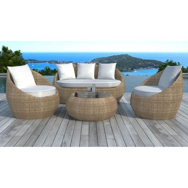 Lekingstore - Salon de jardin en résine tressée ronde Rotin Malaga ...