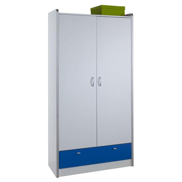 COMFORIUM - Armoire design à 2 portes et 1 tiroir coloris blanc et bleu 56cm x 95cm x 195cm