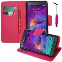 Vcomp - Housse Coque Etui portefeuille Support Video Livre rabat cuir Pu effet tissu pour Samsung Galaxy Note 4 Sm-n910F/ Note 4 Duos Dual Sim, N9100/ Note 4 CDMA, / N910C N910W8 N910V N910A N910T N910M + mini stylet - Rose