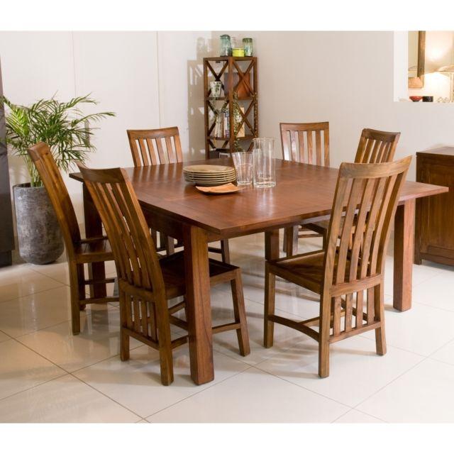 MACABANE Table à manger carrée rallonge 140/50 x 140 cm