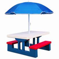 Rocambolesk - Superbe Ensemble jardin pour enfant table et bancs avec parasol Neuf