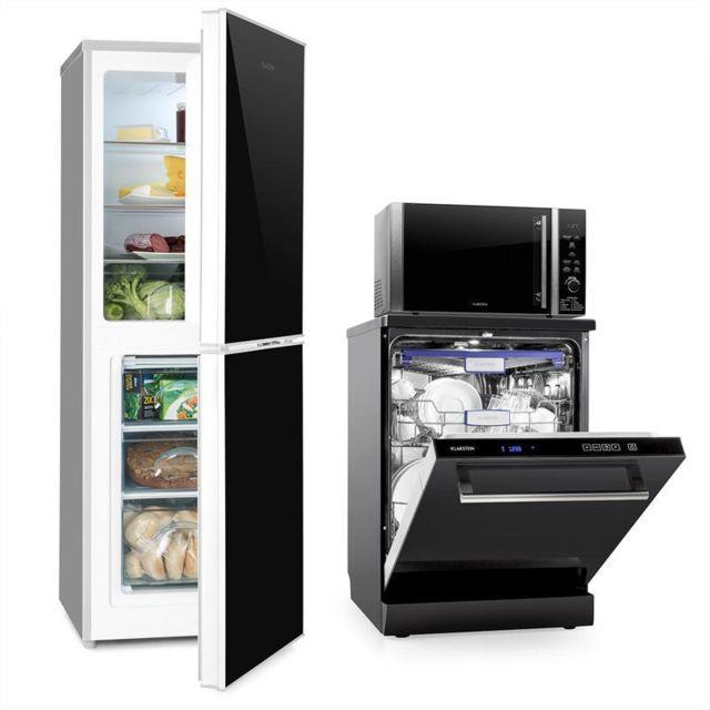 KLARSTEIN Set Combi Réfrigérateur Frigo Congélateur Micro-ondes Lave-vaisselle