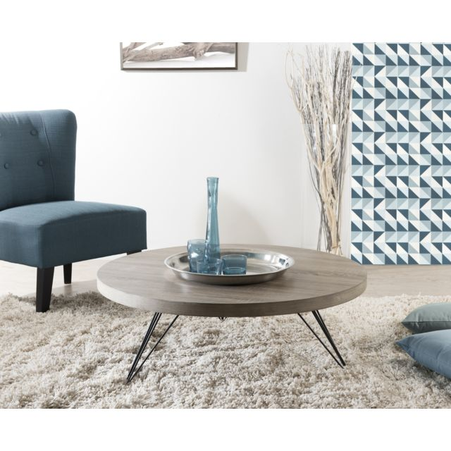 MACABANE Table basse ronde 90 x 90 cm pieds scandi