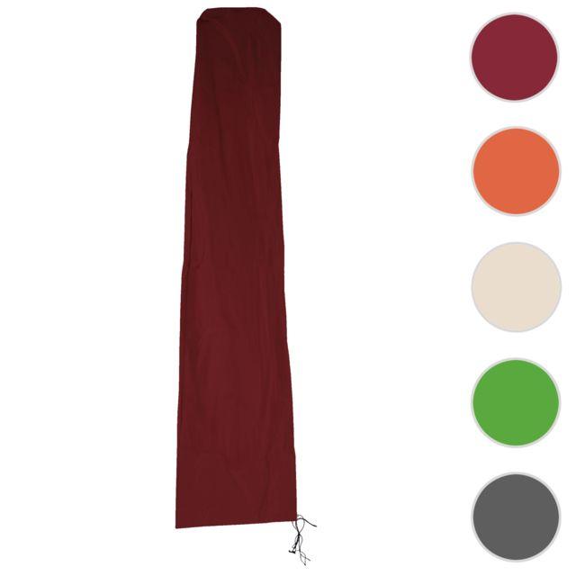 Mendler Housse de protection Hwc pour parasol jusqu'à 4,3 m 3x3 m gaine de protection avec zip ~ bordeaux