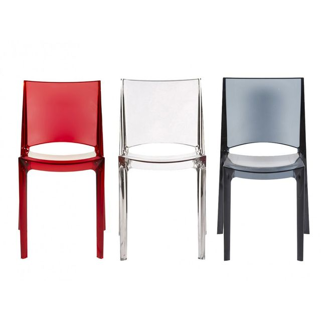 Chaises empilables HELLY Polycarbonate plein Cristal