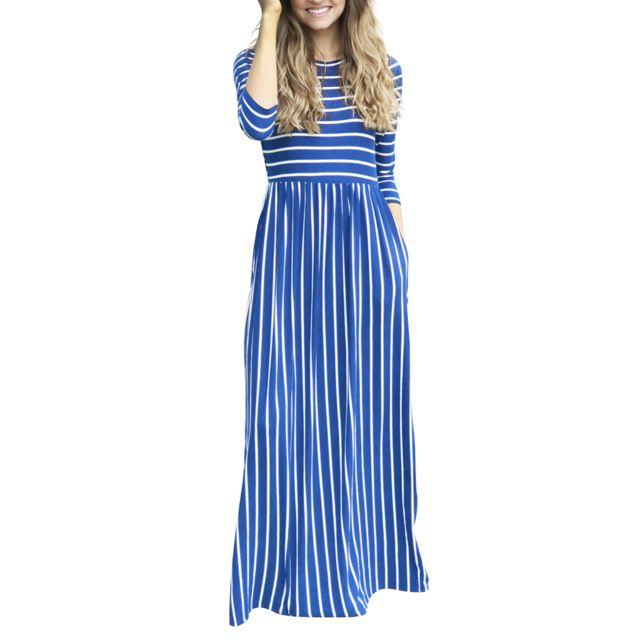 >femme casual manches 3/4 à rayures longues poches longues plissées bleu m