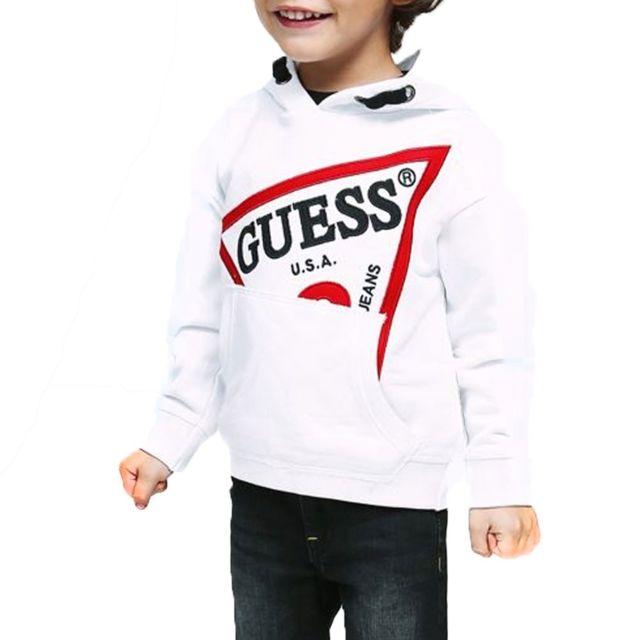 Guess Pull Fille J84r07 Logo Sweater Blanc Motifs Dor/é