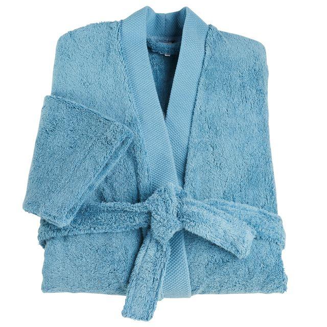 tex home peignoir eponge bio col kimono turquoise pas cher achat vente peignoirs de bain. Black Bedroom Furniture Sets. Home Design Ideas