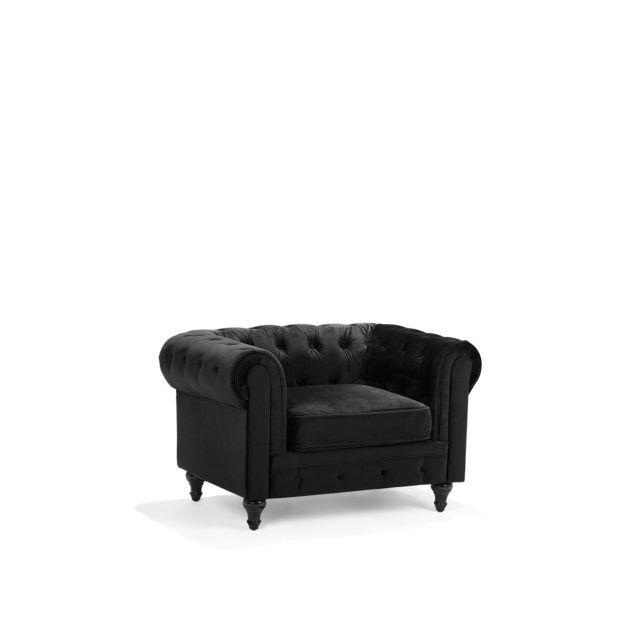BELIANI Fauteuil en velours noir CHESTERFIELD - noir