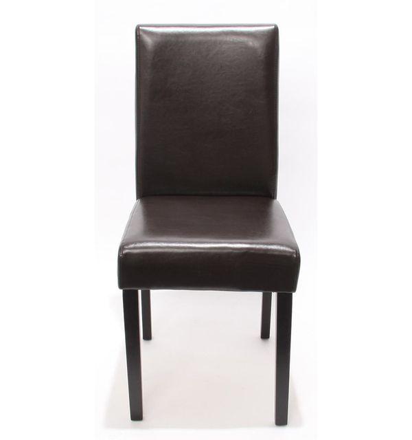 Lot de 4 chaises de séjour Littau, simili cuir, marron, pieds foncés