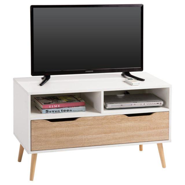 Meuble Tv Genova Banc Tele 90 Cm Style Scandinave Design Vintage Avec 1 Tiroir Et 2 Niches Decor Blanc Mat Et Chene Sonoma