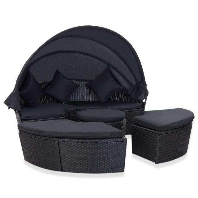 Uco Chaise longue de jardin avec auvent Résine tressée Noir