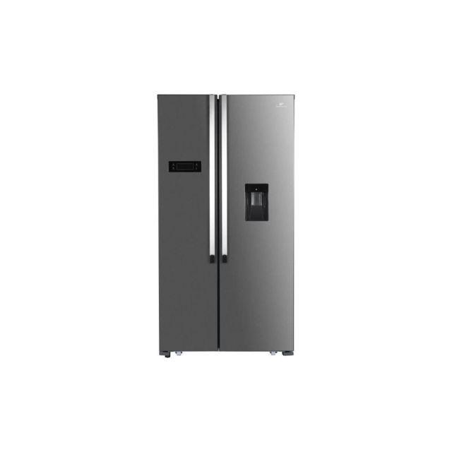Continental Edison Refrigerateur Americain 514 L Avec Distributeur D'eau Autonome, No Frost, Inox Noir