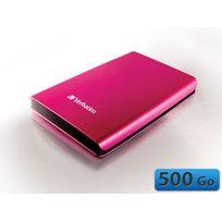 VERBATIM - Disque dur externe portable USB 3.0 - 500 Go - Store 'n' Go - Rose
