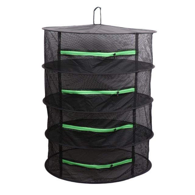 4 couches rondes en maille pliante suspendue, support de séchage d'herbe noire + fermeture éclair verte