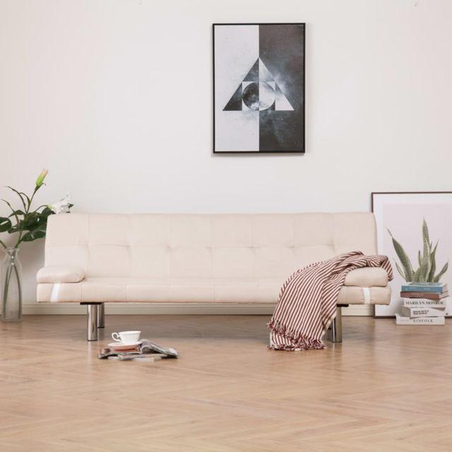Vidaxl Canapé-lit avec deux oreillers Crème Polyester