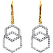 Altesse - Boucles d'oreilles 70268870108 - Boucles d'oreilles Double Hexagone Pendents Femme