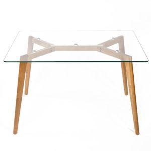 table en bois 120x80x75cm, plateau en verre - pas cher achat