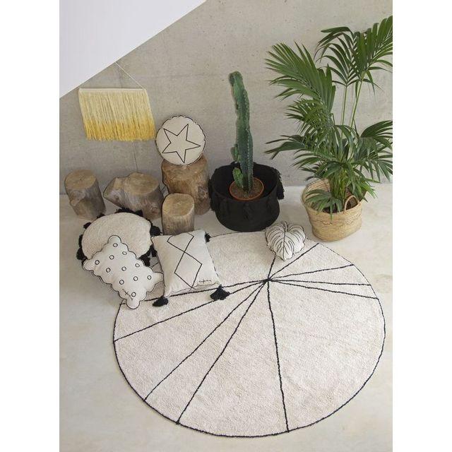 Lorena Canals - Tapis Trace Beige rond lavable en coton pour chambre ...