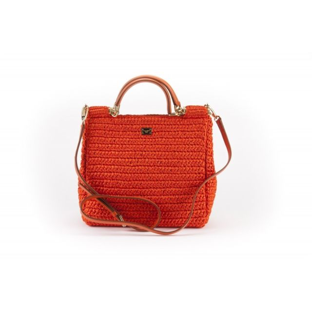 a22805163a3a1 Dolce   Gabbana - Dolce Gabbana - Sicily Dauphine Sac a Main Orange - pas  cher Achat   Vente Sacs à main - RueDuCommerce