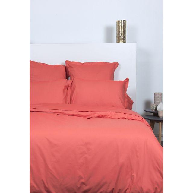 comptoir des tisseurs parure de lit 200x200 cm 100 coton corail pas cher achat vente. Black Bedroom Furniture Sets. Home Design Ideas