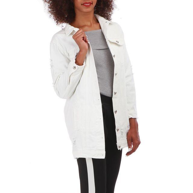 Lamodeuse - Veste blanche en jean longue effet usé - pas cher Achat ... 91fac19c80f8