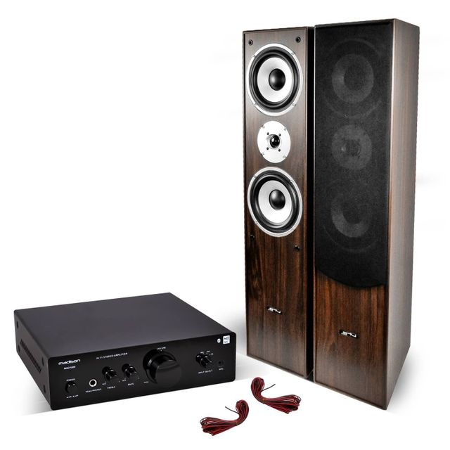 Madison Paire d'enceintes Hifi/Home-Cinéma 2x500W+Amplificateur Hifi Stéréo Bt/NFC/CD/AUX/MP3