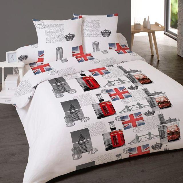dourev parure de lit 4 pi ces royal london pour lit deux. Black Bedroom Furniture Sets. Home Design Ideas