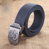 274f90dbd34e Ceinture gris Hommes Cobra Motif Lisse Boucle Placage Brossé Mode Toile  Jeans